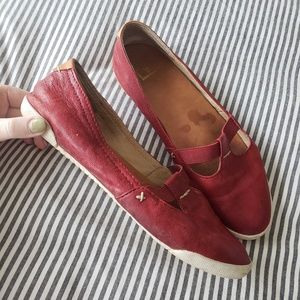 FRYE Red Mary Jane Leather Flats